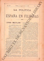 La Política de España en Filipinas ; Volume 7, number 172 (October 31, 1897)