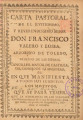 VALERO LOSSA, Francisco (Archbishop of Toledo, 1715-1720) CARTA PASTORAL,// DE EL ILLVSTRISSIMO,//...