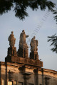 Aristotle, St. Albert the Great, Plato statues on top of Main Building